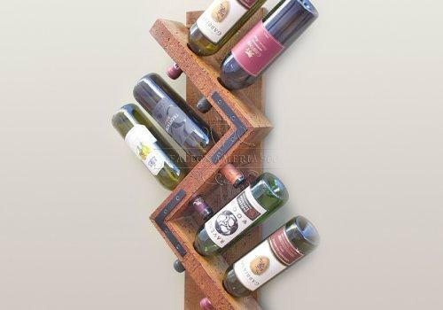 Portabottiglie rack-parete in legno massello