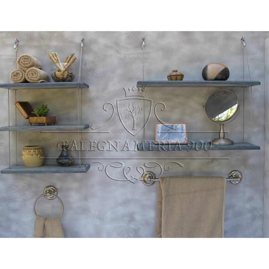 Mensole in legno massello con cavi in acciaio modello for Mensole legno massello