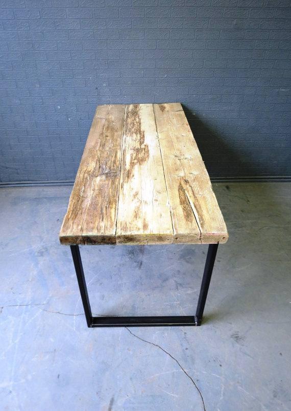 Legno massello tavolo consolle da lavoro o studio in legno massello e gambe in ferro - Tavolo da lavoro in legno ...