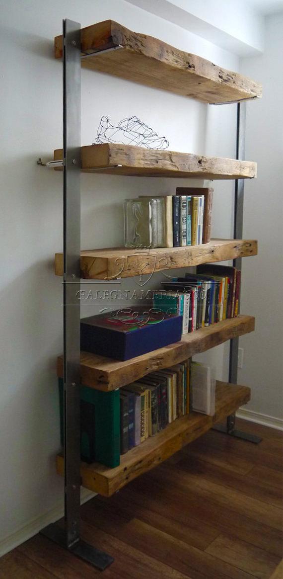 Libreria in legno massello e struttura in ferro modello Doris