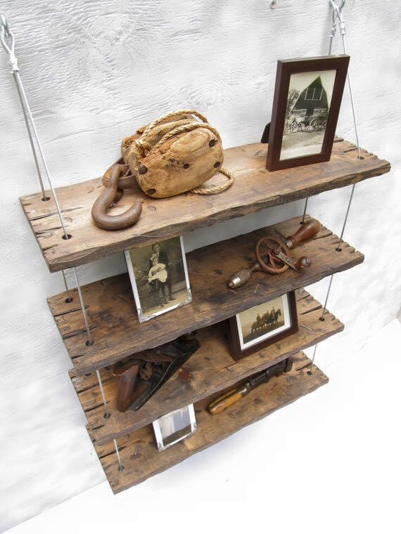 Mensole vintage in legno massello fatte a mano for Mensole legno massello