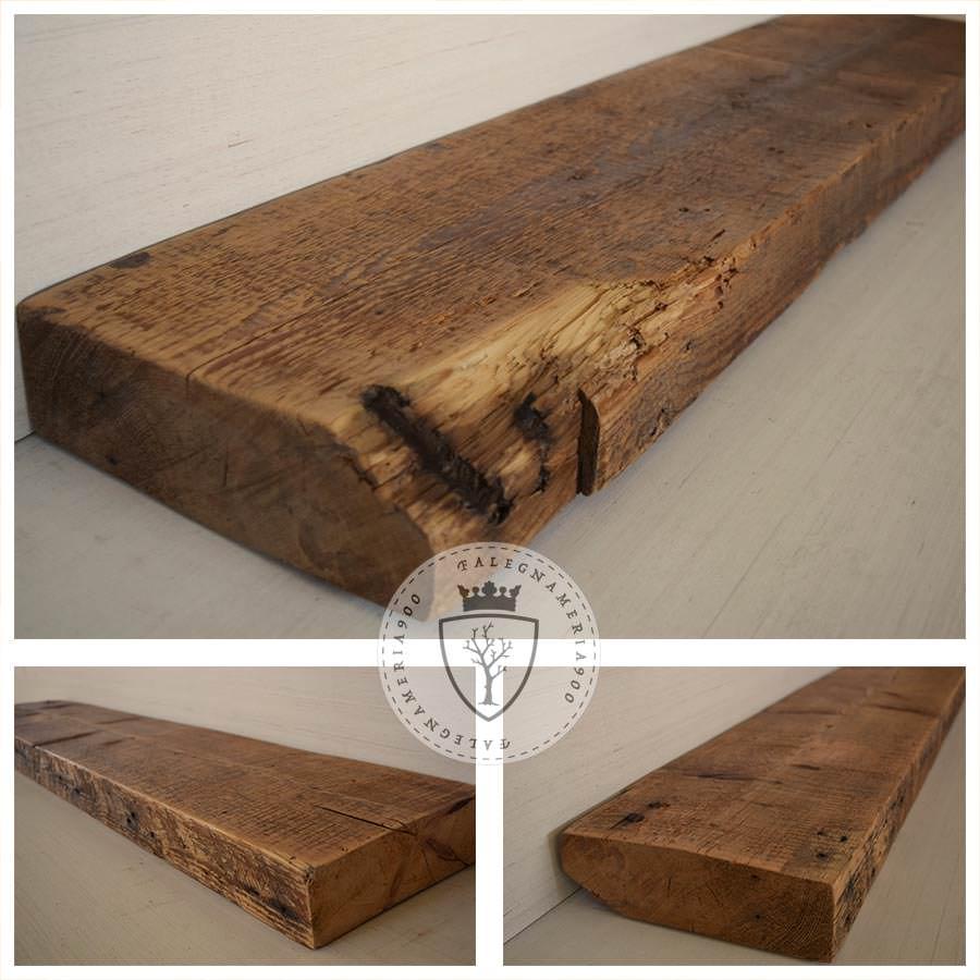 legno massello tre mensole in legno massello di castagno