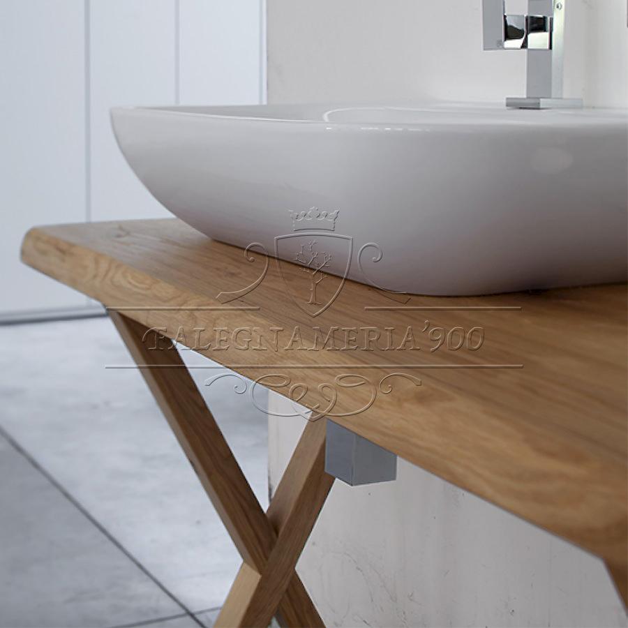 Mobile bagno in legno massello singolo lavabo modello - Top bagno legno massello ...