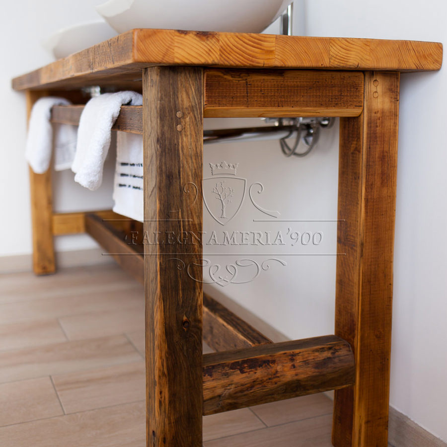 Mobili bagno legno massello piano lavabo in legno - Mobile bagno legno grezzo ...