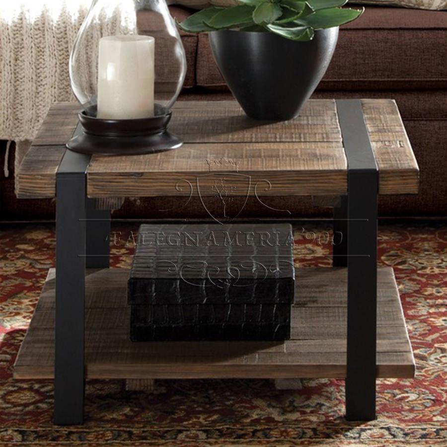 Tavolino rustico da salotto in legno massello e ferro modello Rix