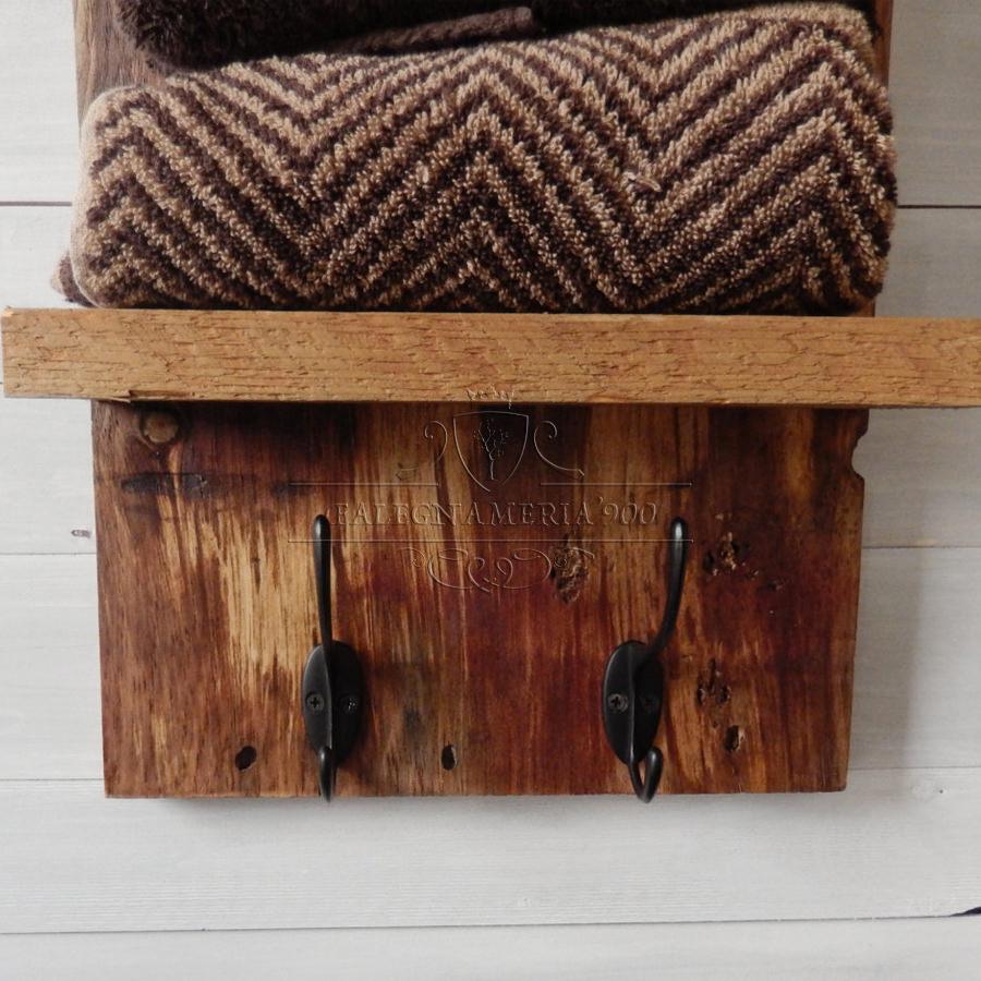 Porta asciugamani da parete in legno massello modello bad - Altezza porta asciugamani ...