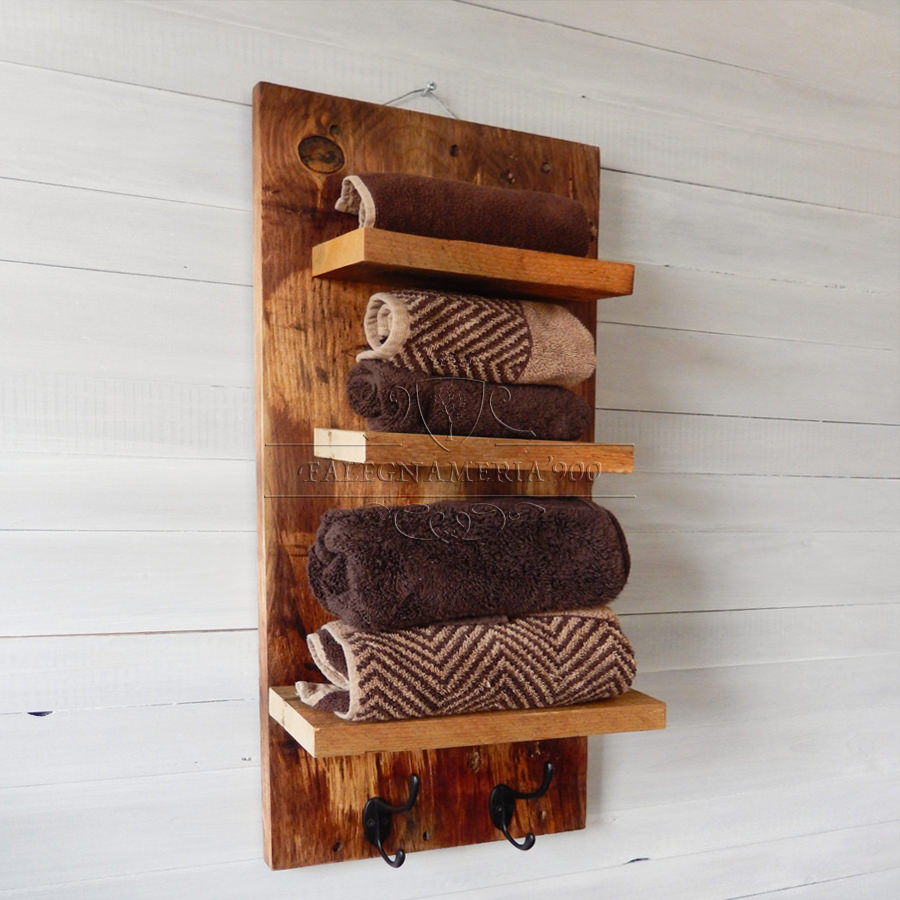 Porta asciugamani da parete in legno massello modello bad - Porta asciugamani da parete ...