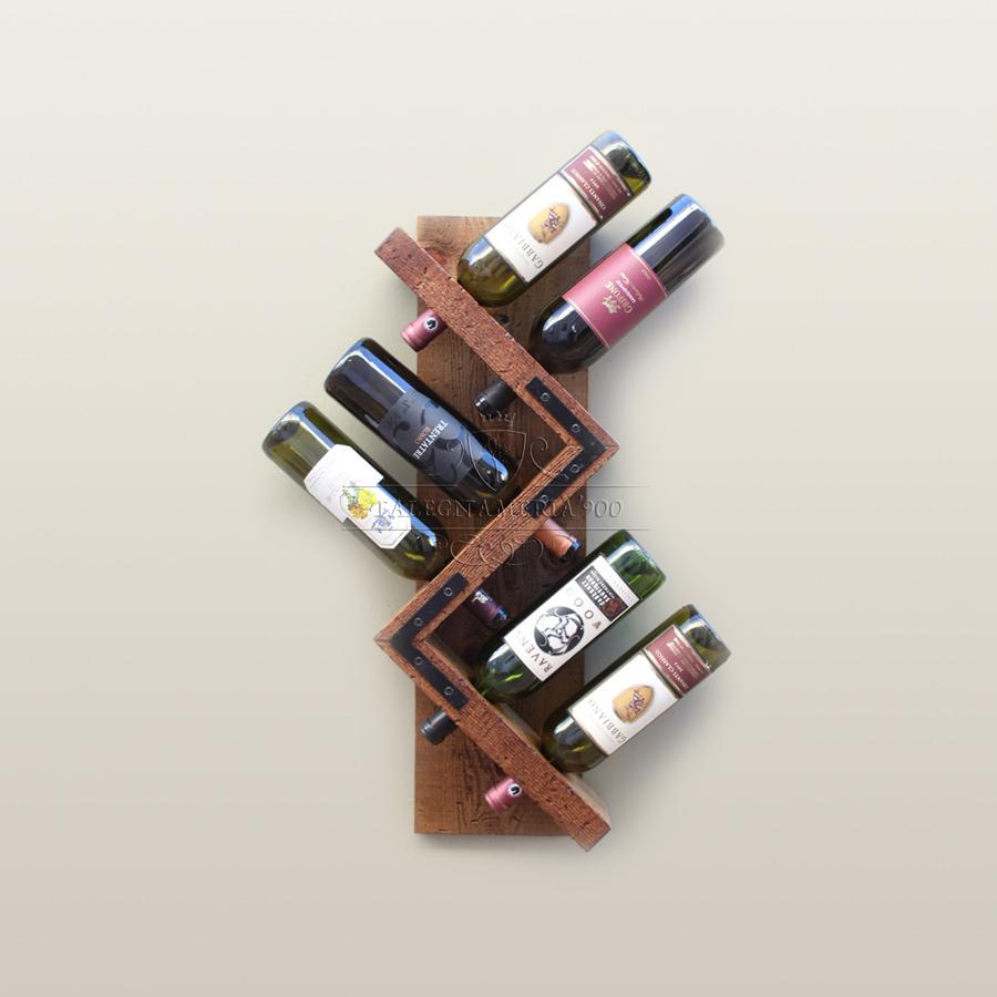 Porta bottiglie da parete in legno massello modellotrack - Portabottiglie di vino in legno ...