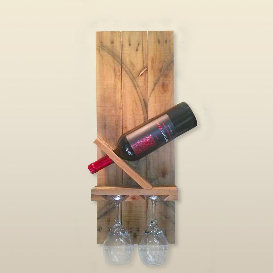 Porta bottiglia da parete in legno massello modello track one - Portabottiglie in legno da parete ...