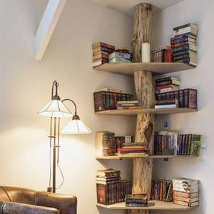 Libreria con vero tronco di castagno modello Tree