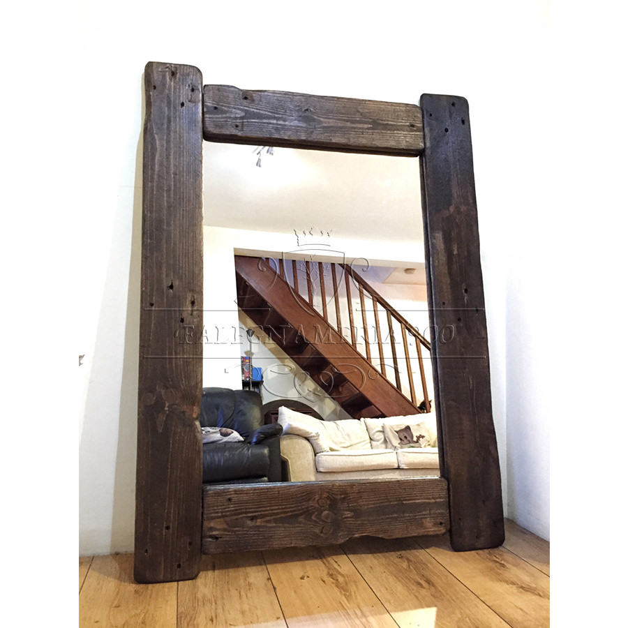 Specchio in legno massello rustico modellobruno - Bagno rustico in legno ...