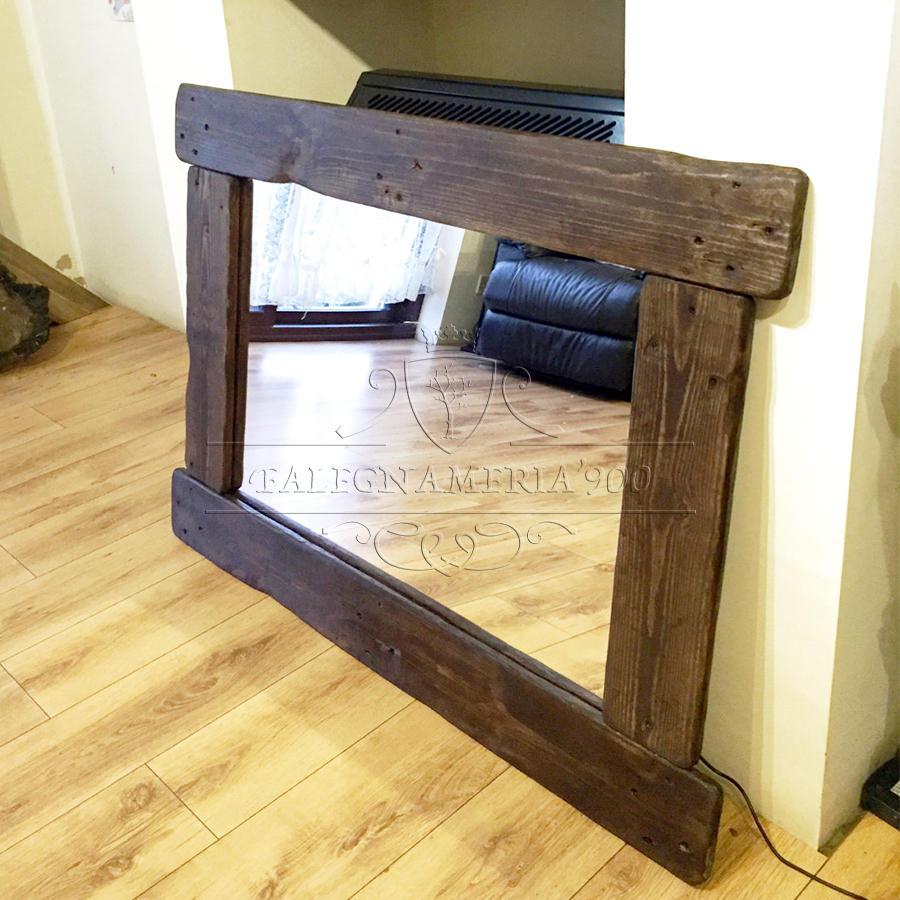 Specchio in legno massello rustico modellobruno - Specchio bagno legno ...