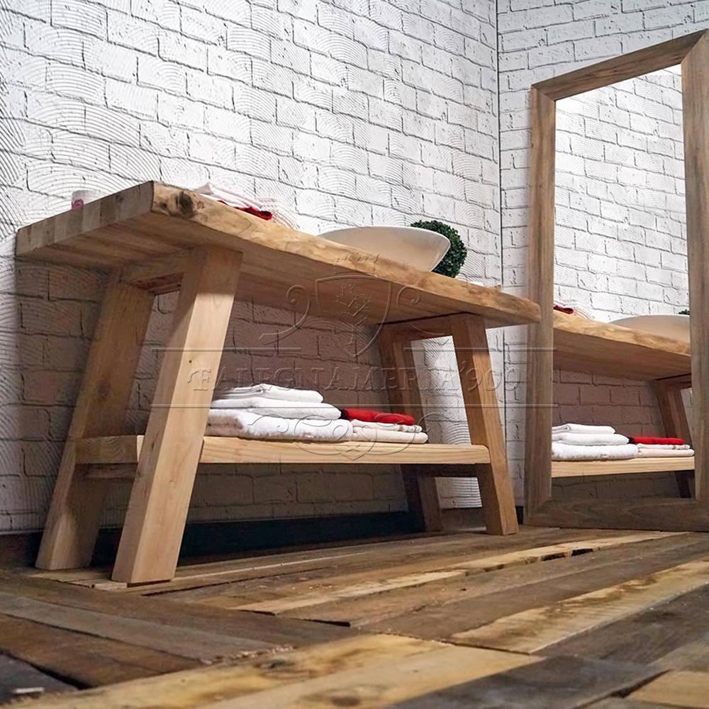 Mobile bagno in legno con doppio ripiano modello eva - Top bagno legno massello ...