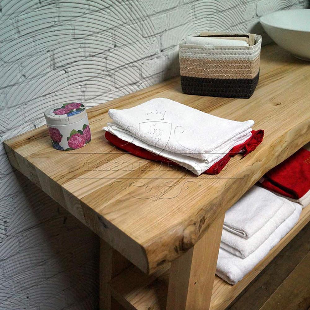 mobile bagno in legno massello con doppio ripiano