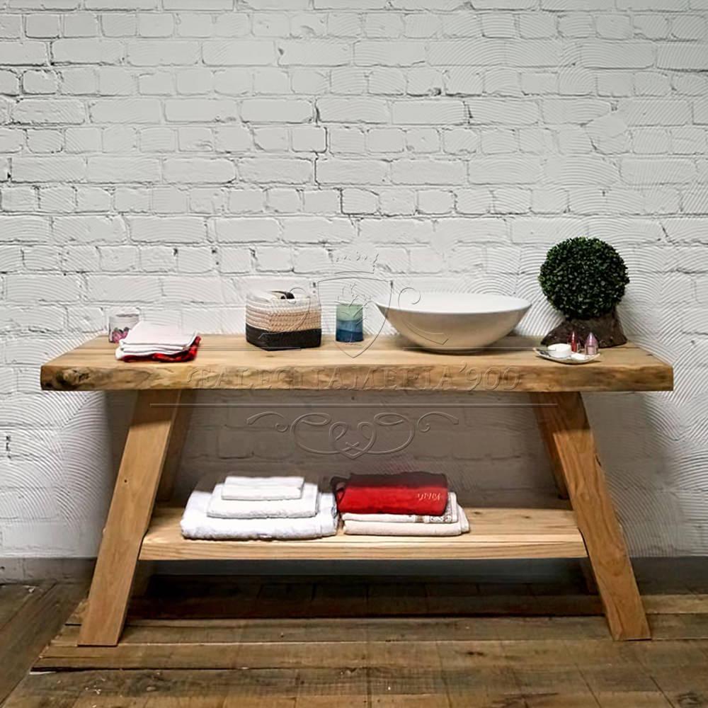 Mobile bagno in legno con doppio ripiano modello eva - Mobile bagno legno grezzo ...