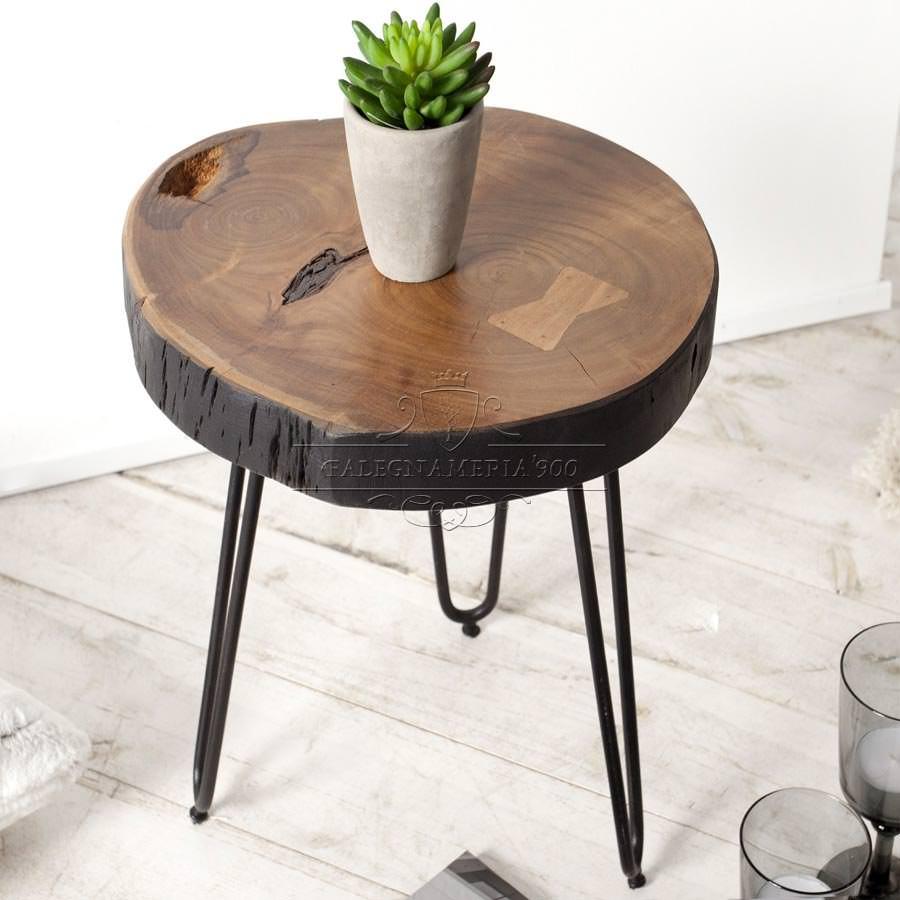 Tavolino con porzione di tronco e ferro modello brux for Tronco albero arredamento