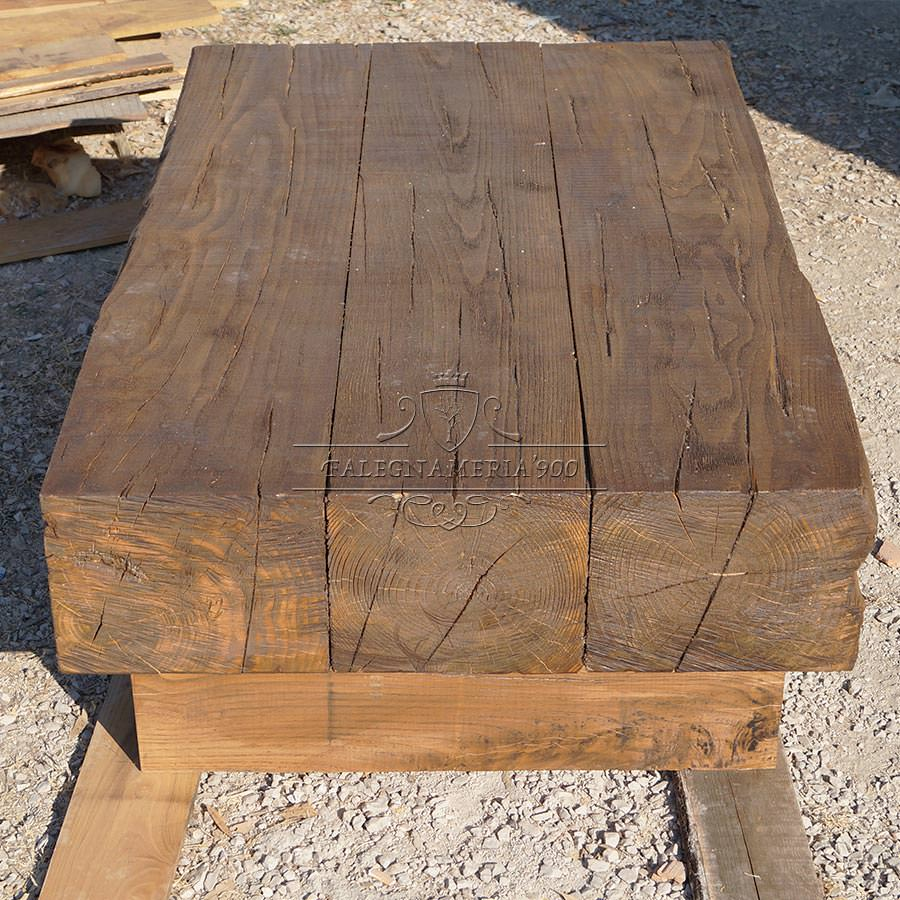 Tavolino in legno massello con travi modello fire for Tavolini in legno