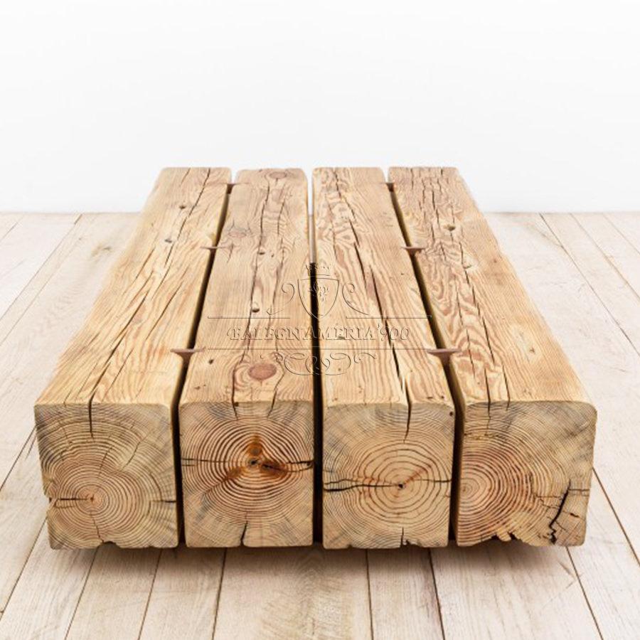Tavolino in legno massello con travi modello Montreal