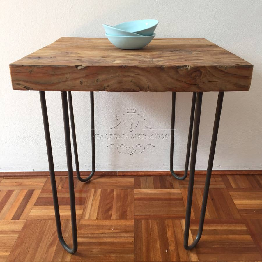 Tavolino quadrato in legno massello e ferro modello damo - Tavolino legno bambini ...