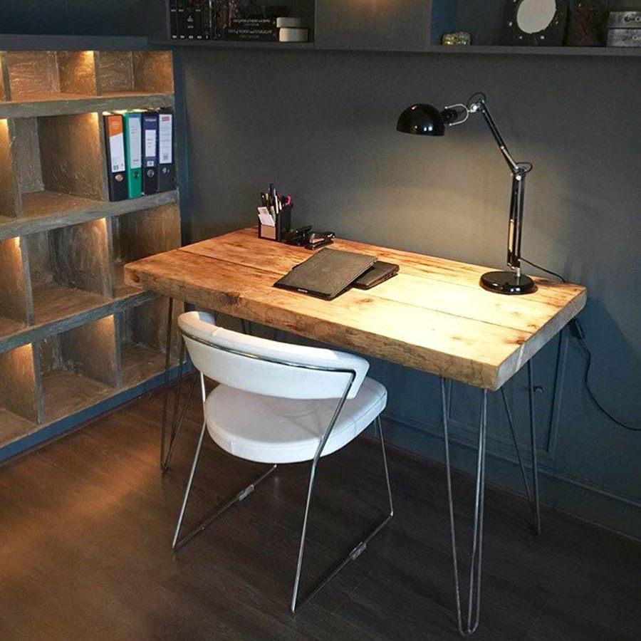 Legno massello tavolo consolle da lavoro studio in legno massello e gambe in ferro - Tavolo da lavoro in legno ...