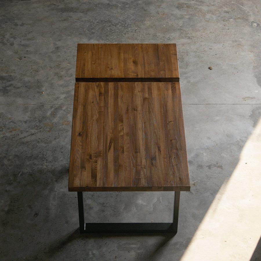 Tavolo in legno massello a liste incollate con prolunga: Max