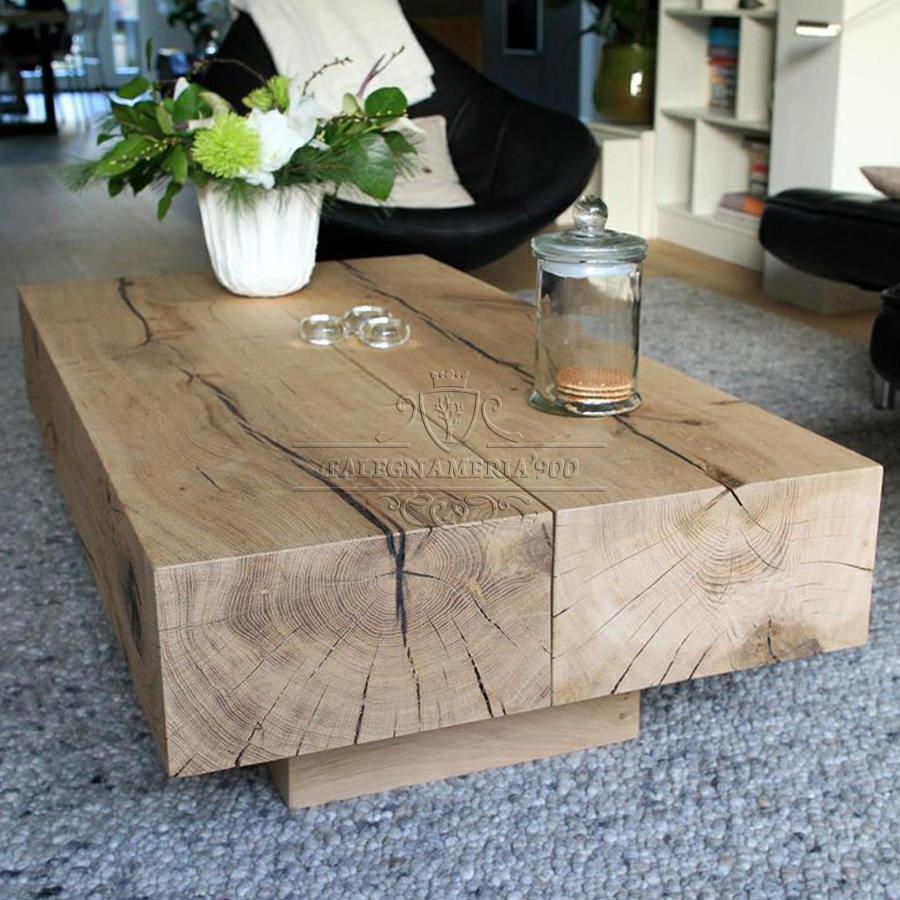 Tavolino in legno massello con travi modello Line