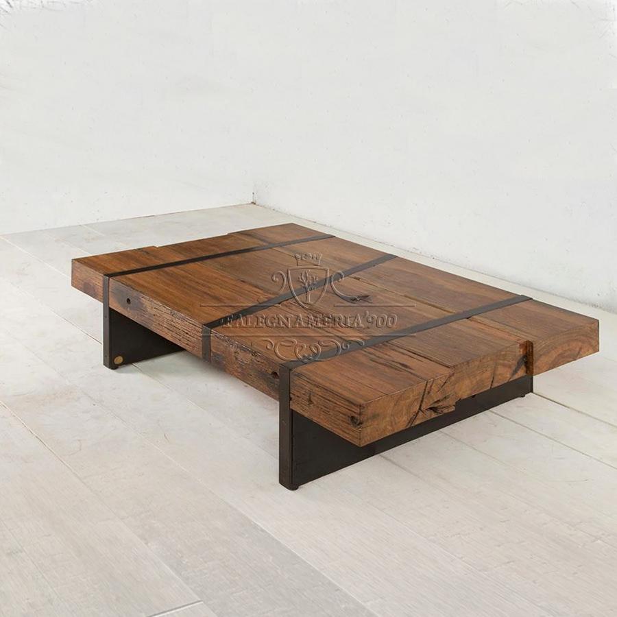 Tavolino Da Solotto Con Travi E Ferro Kenya Falegnameria900 Mobili In Legno Su Misura