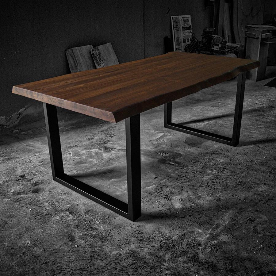Tavolo legno massello design rustico gambe in ferro in for Tavolo in legno design