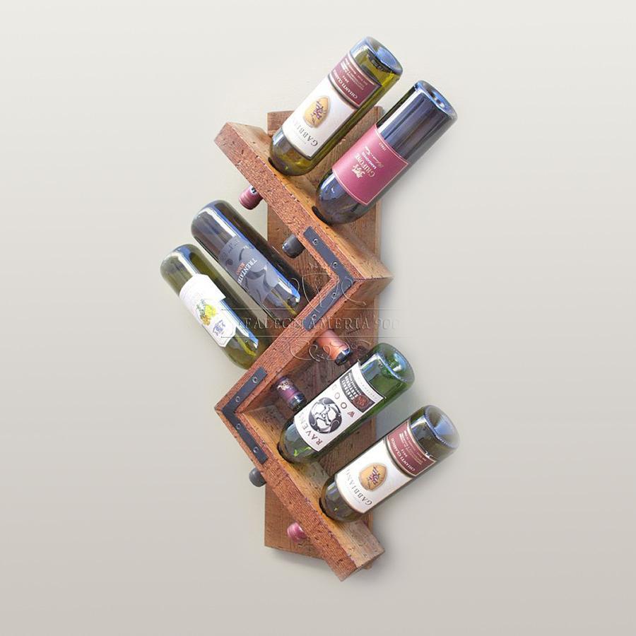 Porta bottiglie da parete in legno massello modellotrack - Portabottiglie a parete ...