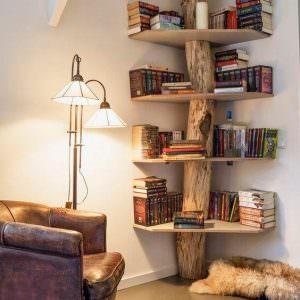 Libreria tronco legno massello castagno