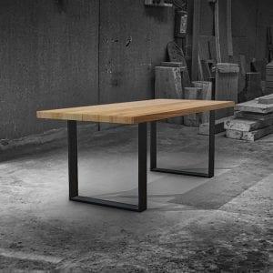 Tavolo legno massello top doppio gambe ferro