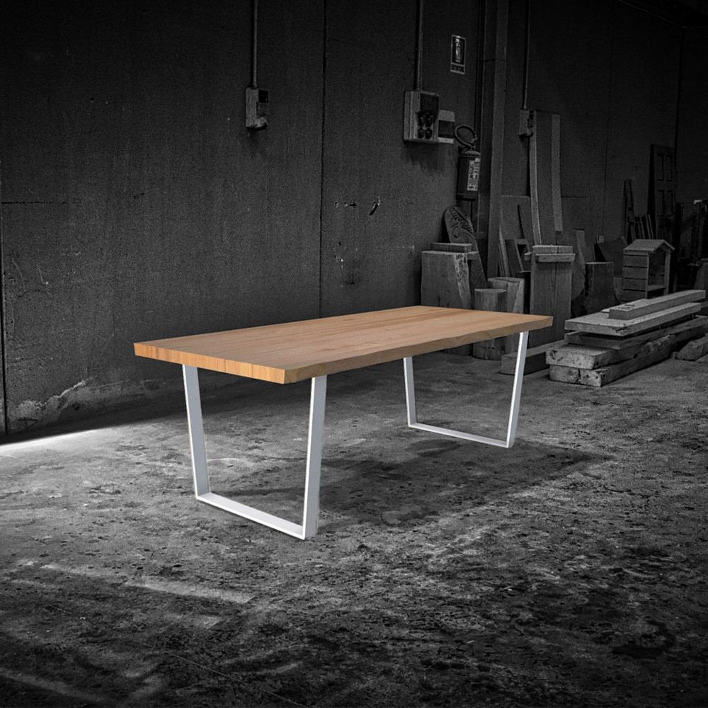 Tavolo legno massello design rustico gambe in ferro