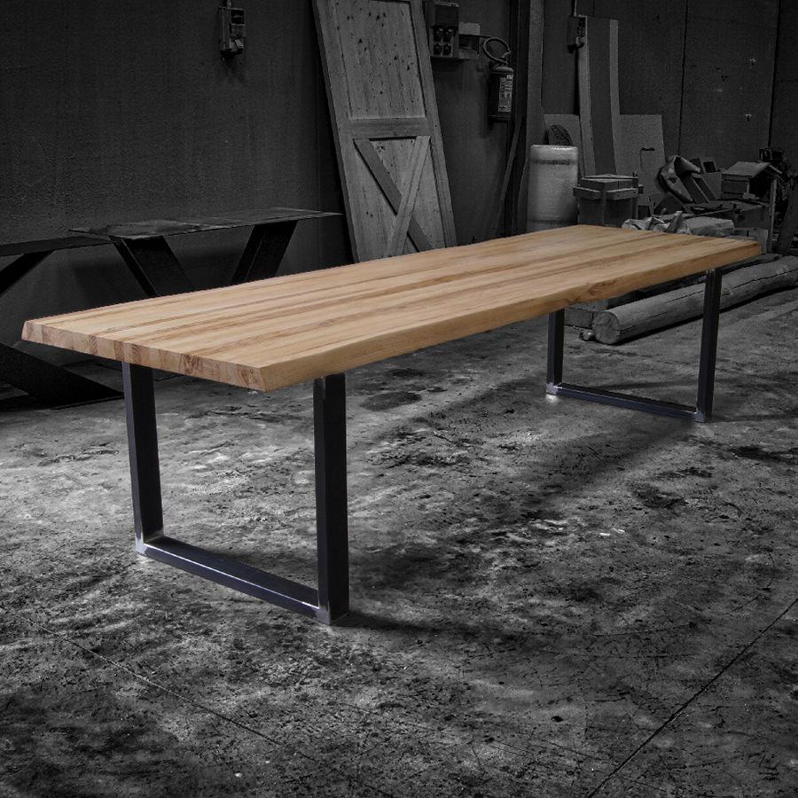 Tavolo in legno massello di castagno vik acquistalo - Tavolo ferro e legno ...