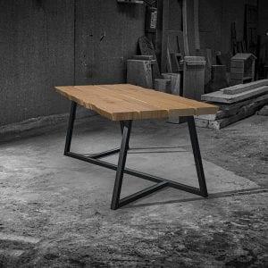 Tavolo legno massello moderno design gambe ferro