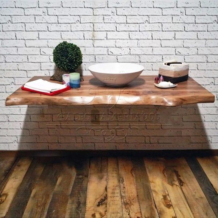 Mensola per il bagno in legno massello di noce