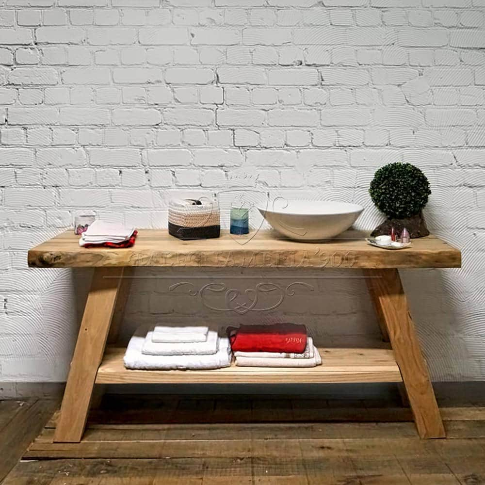 Mobile bagno piano lavabo con doppio ripiano chiaro eva for Mobile bagno legno