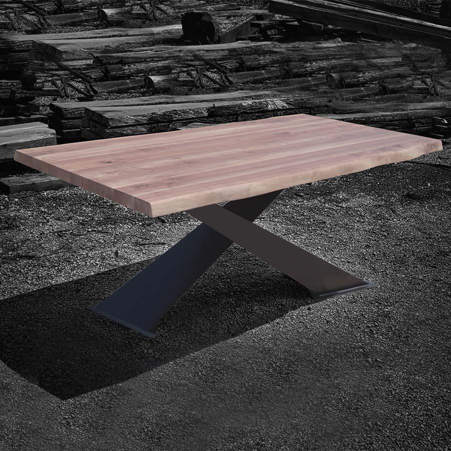 Tavolo legno massello design moderno gambe ferro