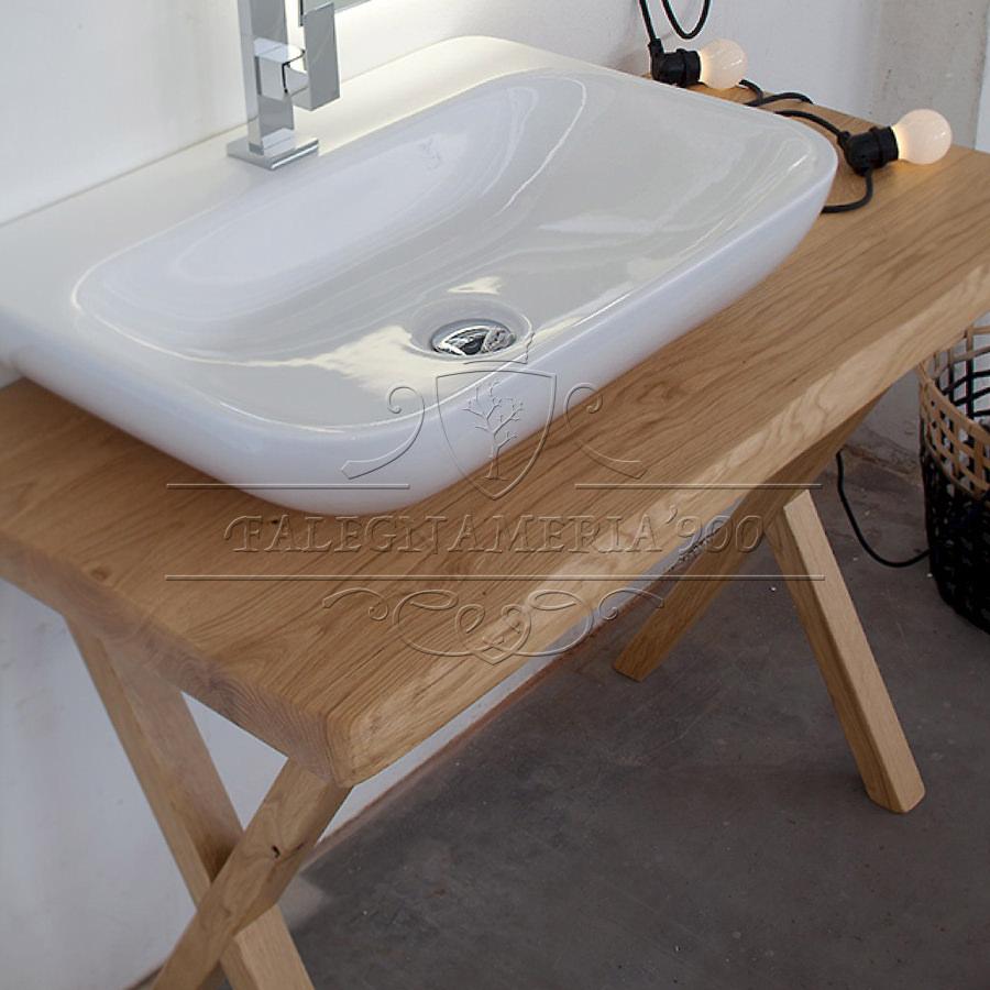 Mobile singolo lavabo da bagno in legno massello - Alessandra ...