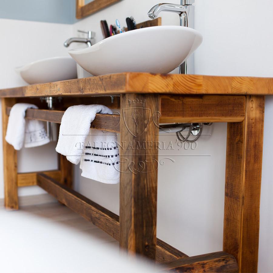 Mobile bagno in legno massello per doppio lavabo for Mobile bagno legno