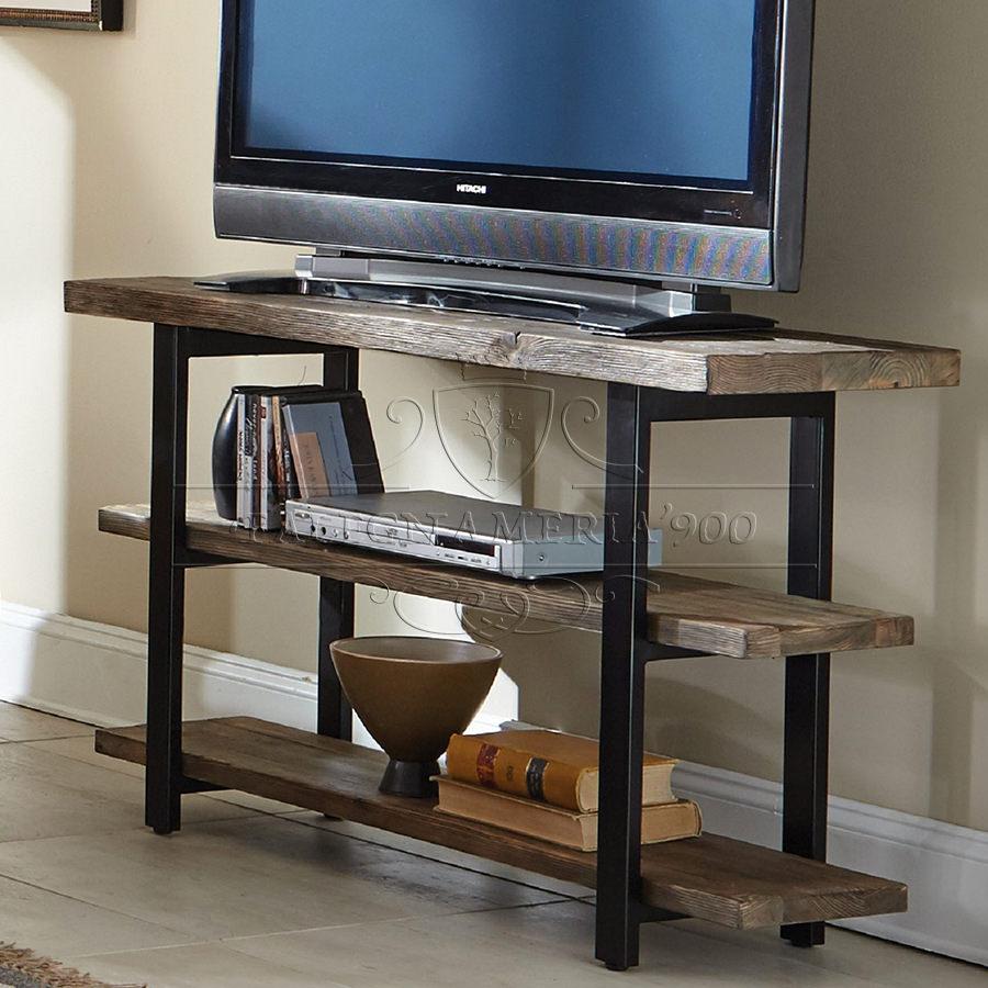 Mobile in legno e ferro porta tv modello daiana - Mobili in castagno massello ...