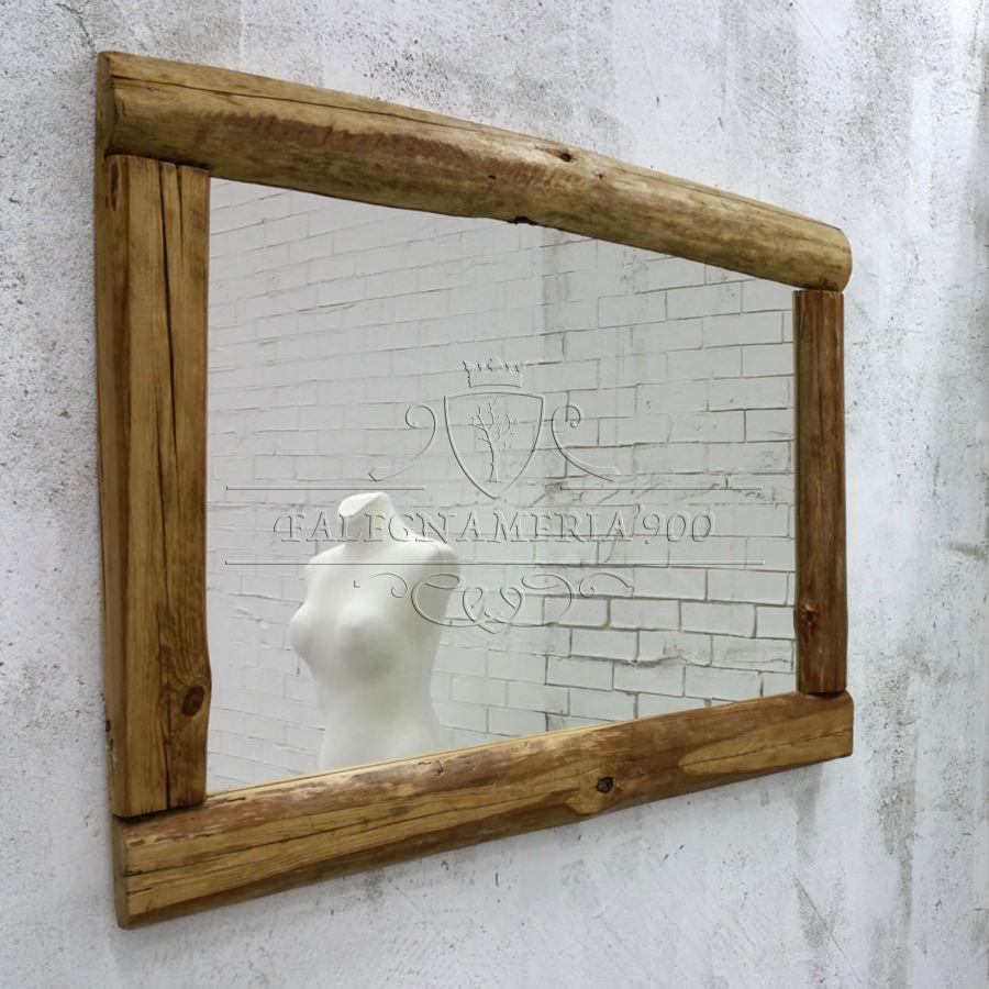 Nature Style: specchio in legno massello per bagno