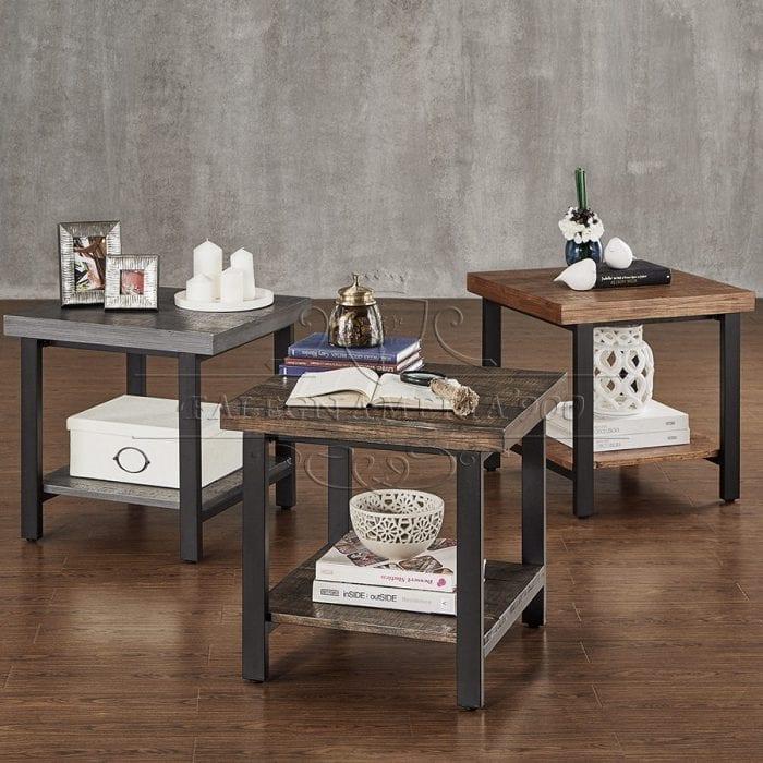 Rustic Style: tavolino da salotto in legno massello e gambe in ferro