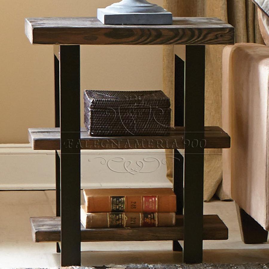 Rustic Style: tavolino alto da salotto in legno massello e gambe in ferro