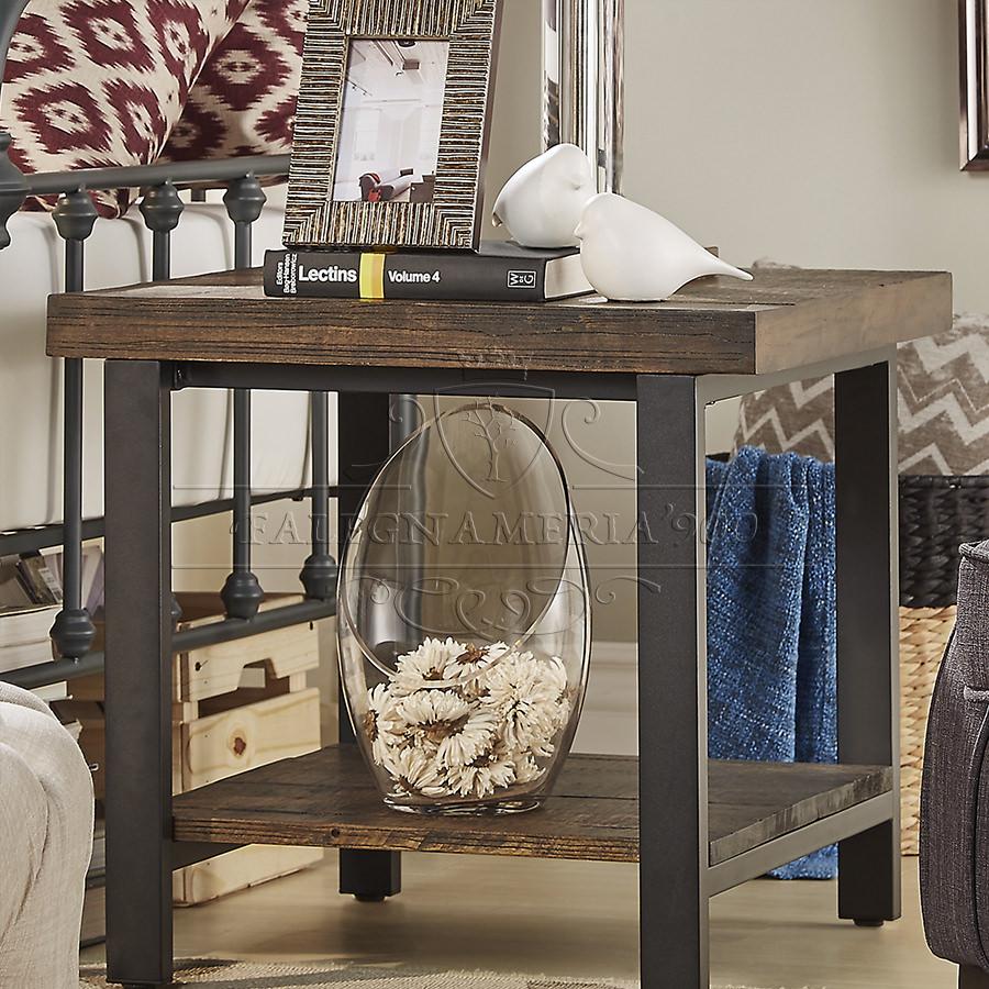 Rustic Style: tavolino da salotto in legno massello e gambe inferro