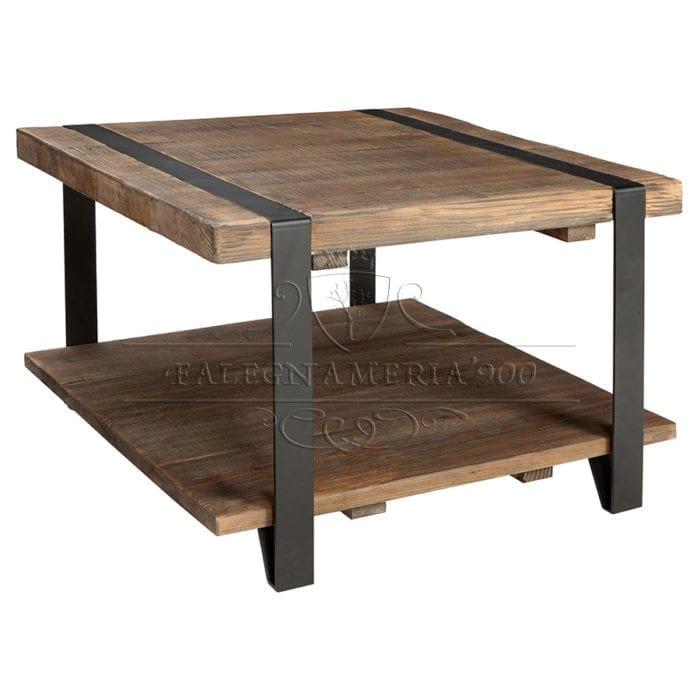Rustic Style: tavolino basso da salotto in legno massello e gambe in ferro