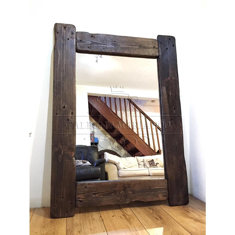 Rustic Style: specchio in legno massello per bagno