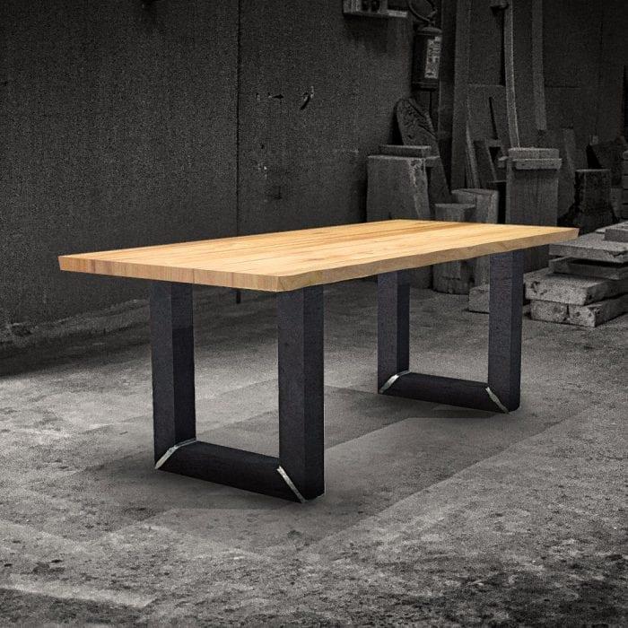 Tavolo legno massello con gambe in ferro