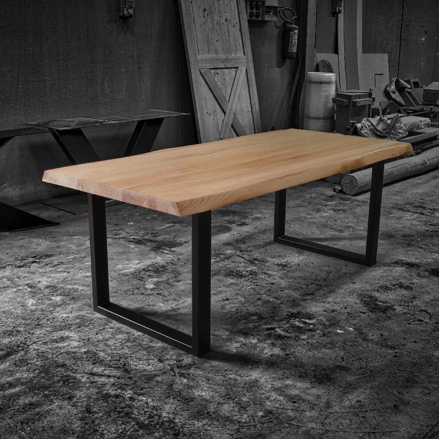 Impero chiaro tavolo in legno massello e gambe in ferro for Tavoli in legno massello rustici
