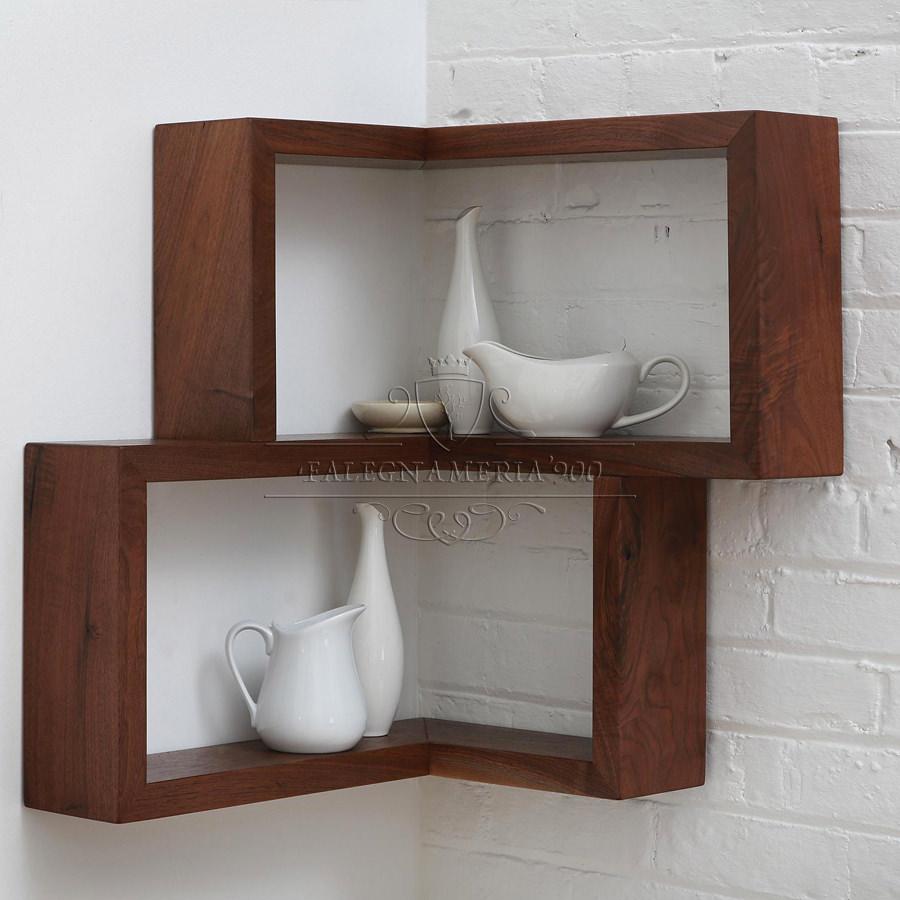 Mensola angolare in legno massello da parete falegnameria900 for Mensole angolari per bagno