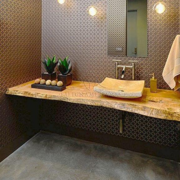 Mensola bagno in legno massello rustico